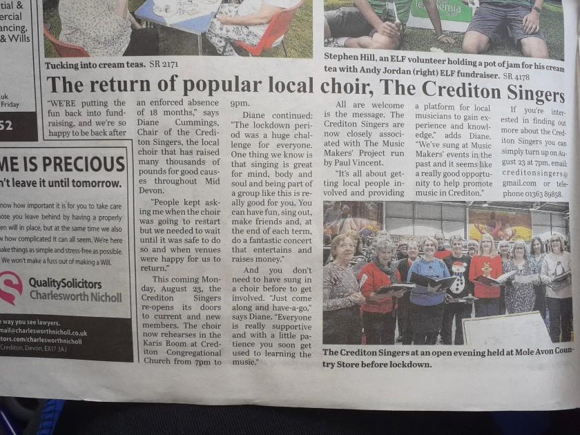 courier choir report august 21